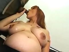 Hot preggo w big belly sucks cock